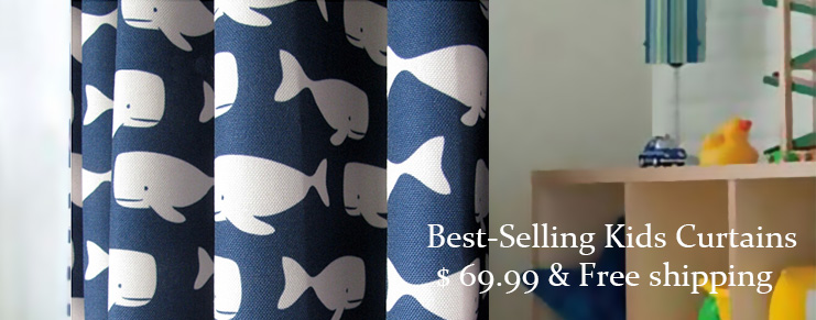 Whale Blue and White Polyester Curtains for Kids