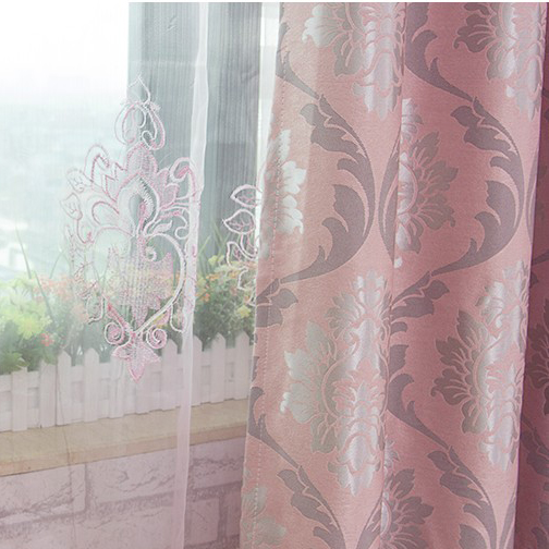 Classic Polyester and Cotton Pink Jacquard Curtains for Blackout