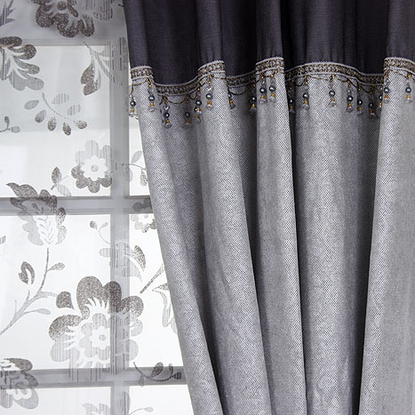 Romantic Jacquard Floral Printed Grey Linen/Polyester Blend Thermal Curtains
