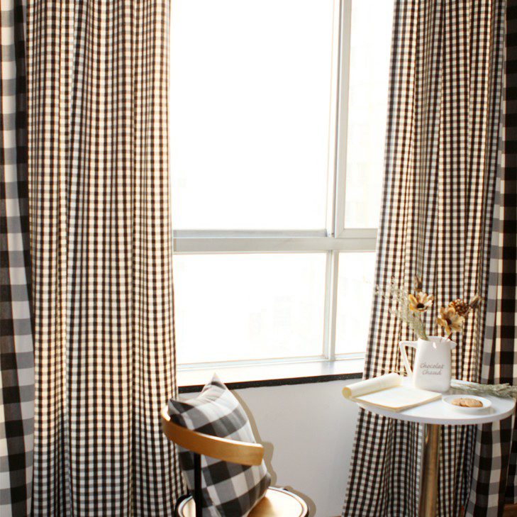 Country Plaid Cotton Curtains with Polyester