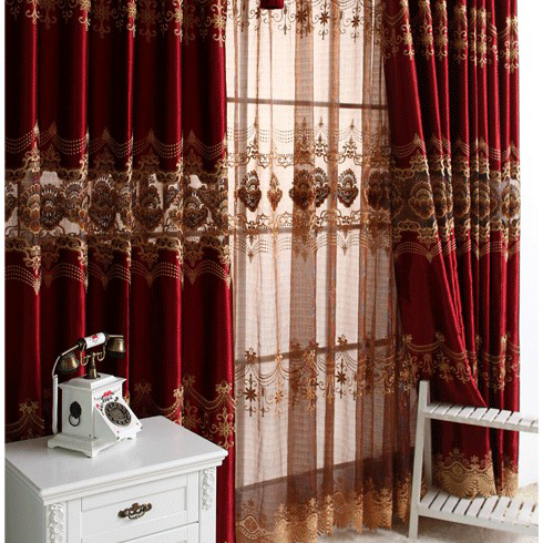 Luxurious Burgundy Hollow-out Blackout Curtains with Embroidery