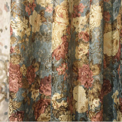 European Style Floral Printed Colorful Sound Absorption Curtains of Chenille