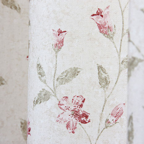 Green Leaf and Red Flowers Countryside Cotton Blackout Ivory Curtains (Two Panels)