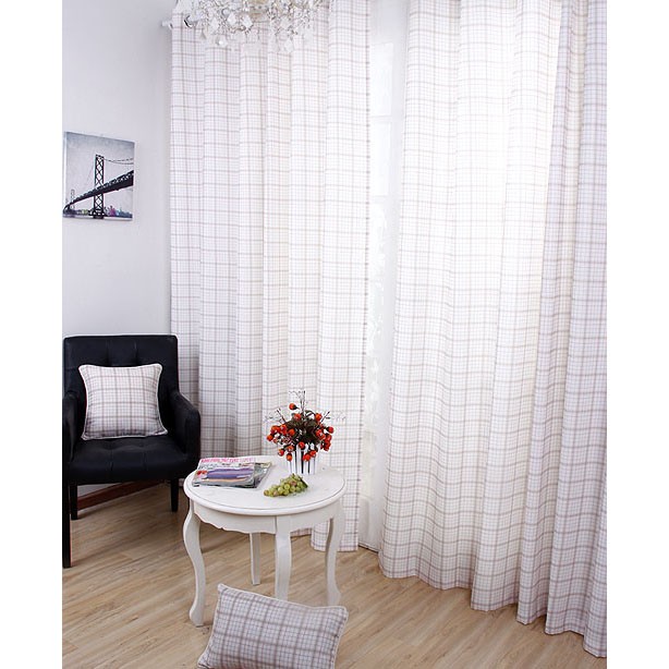 england style white plaid check cottonlinen ecofriendly curtains
