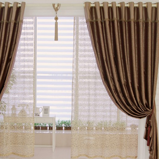 Comfortable Blackout Brown Curtains Made of Polyester