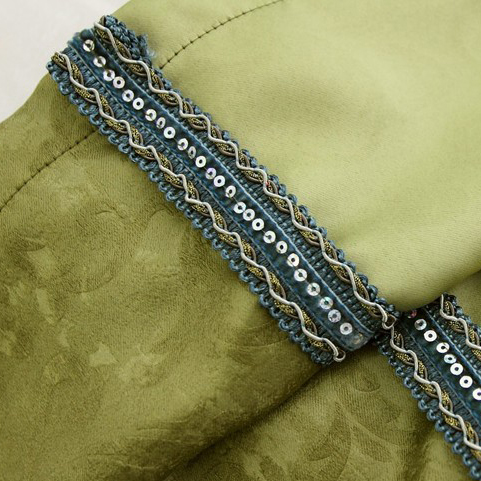 Spring Bud Green Lace Polyester Thermal Curtains