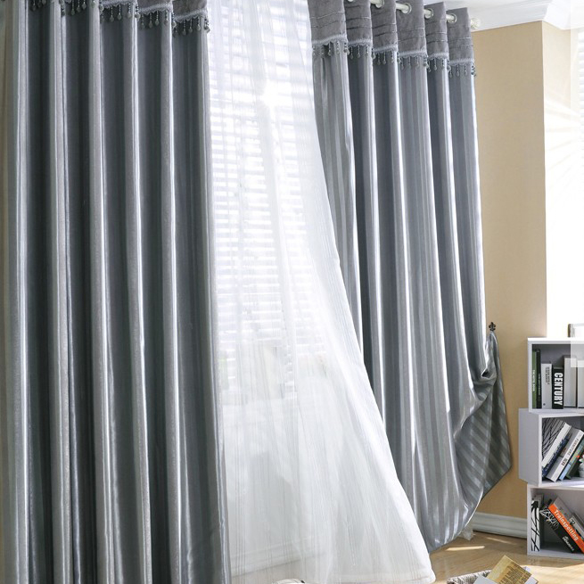 ... Classic Lined Blackout Heavy Grey Curtains