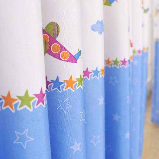 Airplane and Stars Printed Cotton Curtains for Kids