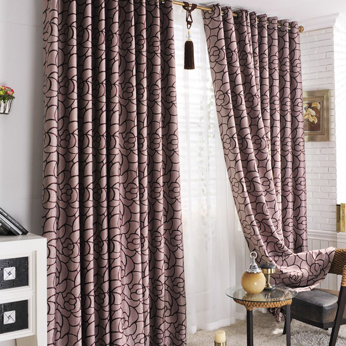 Fancy Bedroom Curtains in Purple for Blackout , Buy Purple Print ...