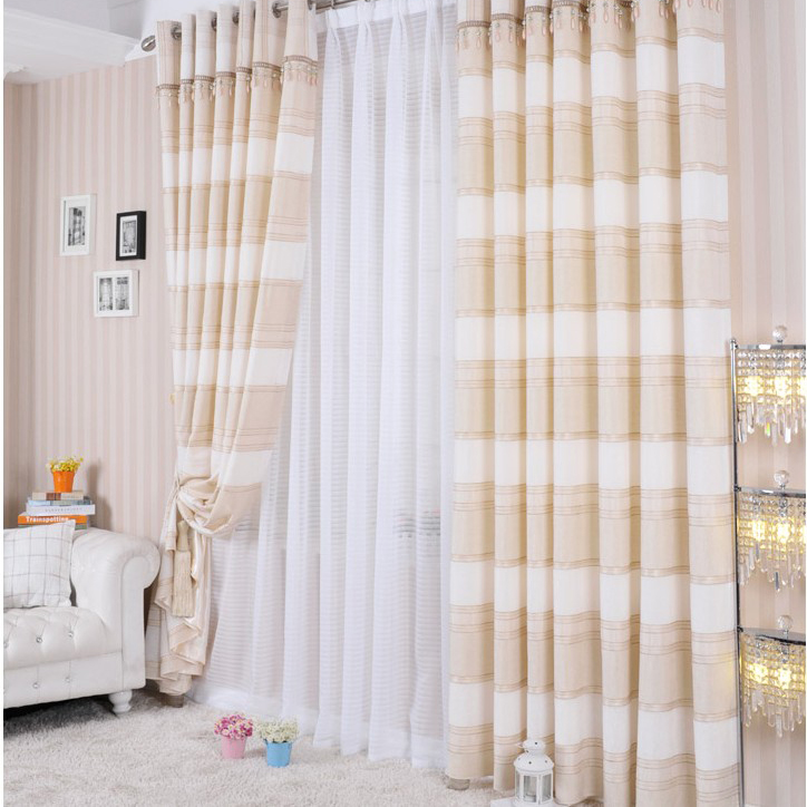 ... Timeless Blending Materials Blackout Lined Curtains with Lines