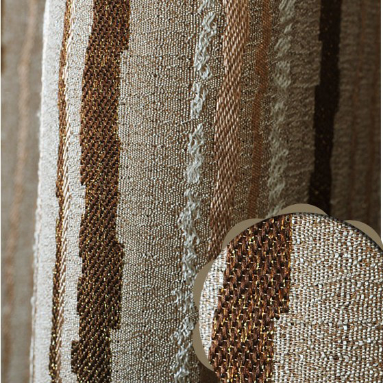 European Style Striped Polyester and Fiber Curtains with Lines in Brown