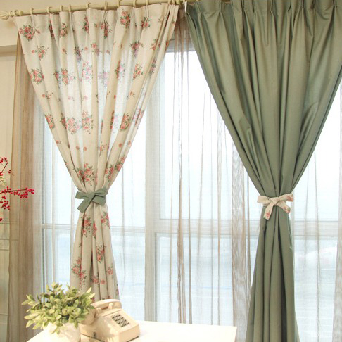 Beautiful Flower Printing Cotton and Linen Eco-friendly Curtains