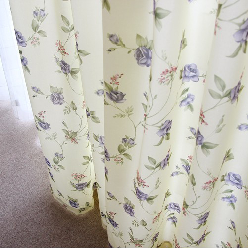 Wonderful ... Beautiful Blue Floral And Leaf Printed Curtains Made Of Polyester ...