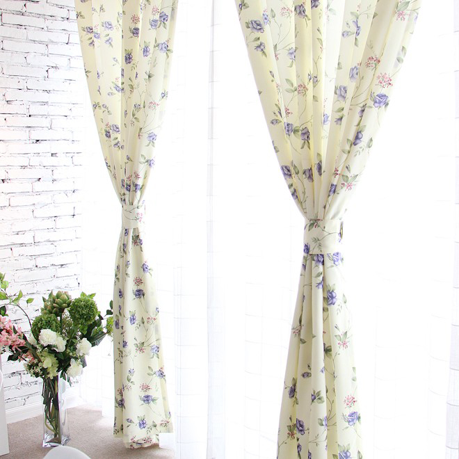 Nice ... Beautiful Blue Floral And Leaf Printed Curtains Made Of Polyester ...