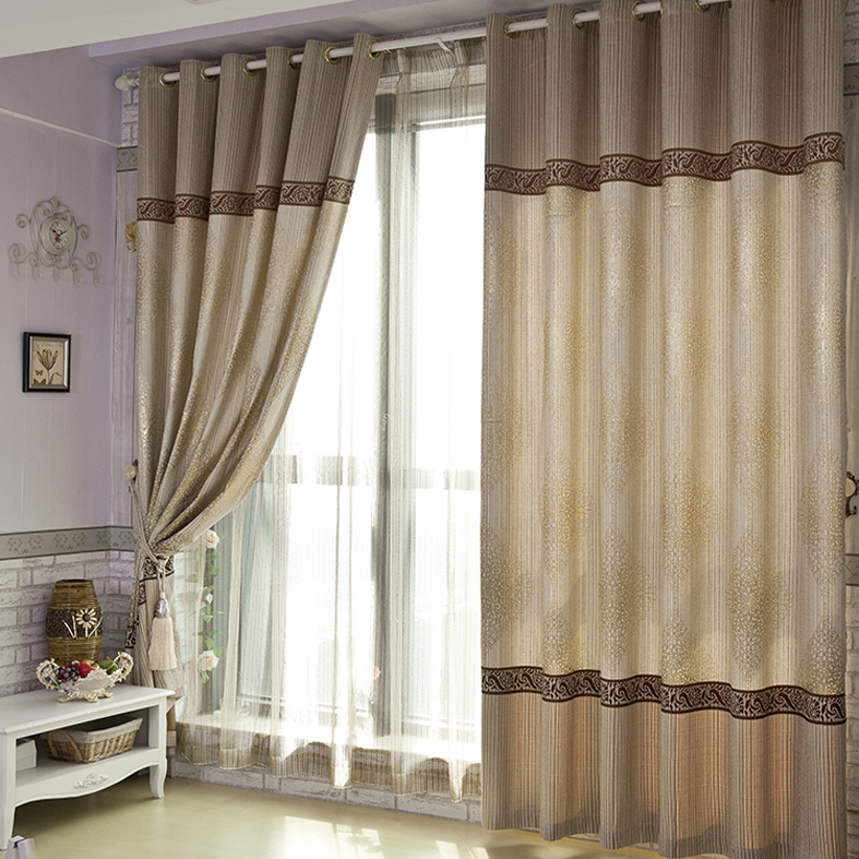 Elegant Brown Jacquard Energy Saving Poly/Cotton Blend Curtains with Embroidery