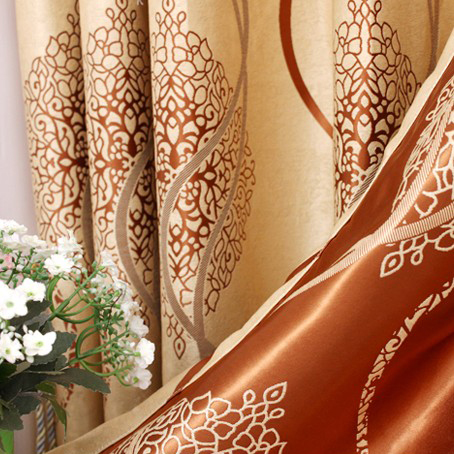 Sound-sbsorption Gold Jacquard Blackout Curtains with Lines