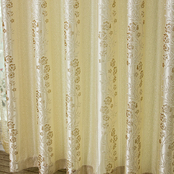 High-grade Poly/Cotton Floral Daffodil Blackout Curtains with Embroidery