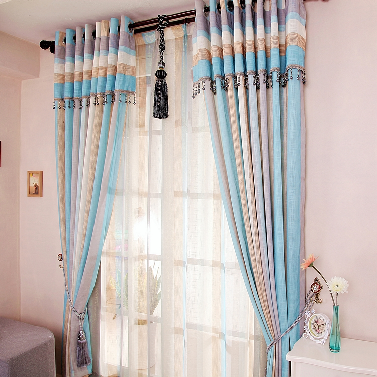 Cotton Yarn and Poly Blended Colorful Printing Curtains for Living Room