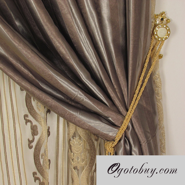 Striped Brown Classic Polyester Energy Saving Curtains
