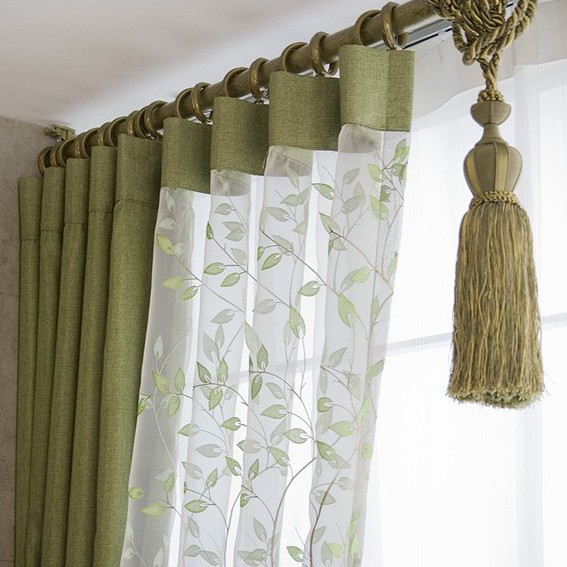 ... Pastoral Linen And Cotton Blend Leaf Thermal Bedroom Curtains
