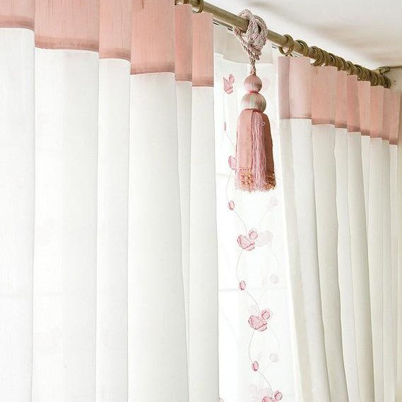 Curtains Ideas cotton curtains white : Cute White Sheer Poly and Cotton Blend Bedroom Curtains , Buy Pink ...