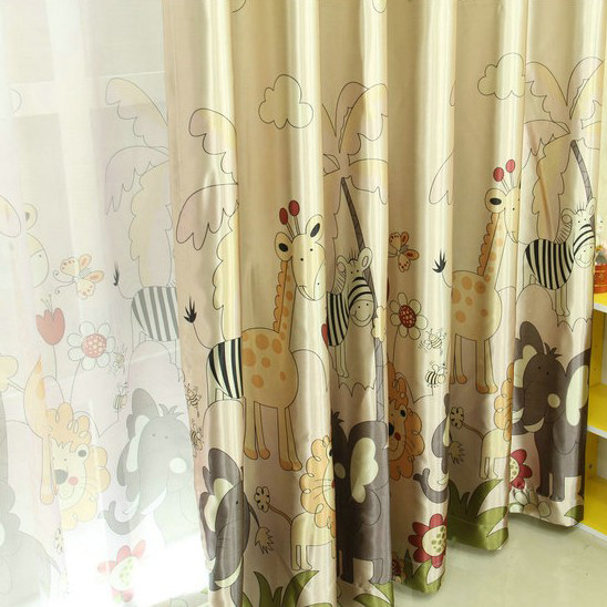 Interesting Printed Cartoon Blackout Children Room Curtains