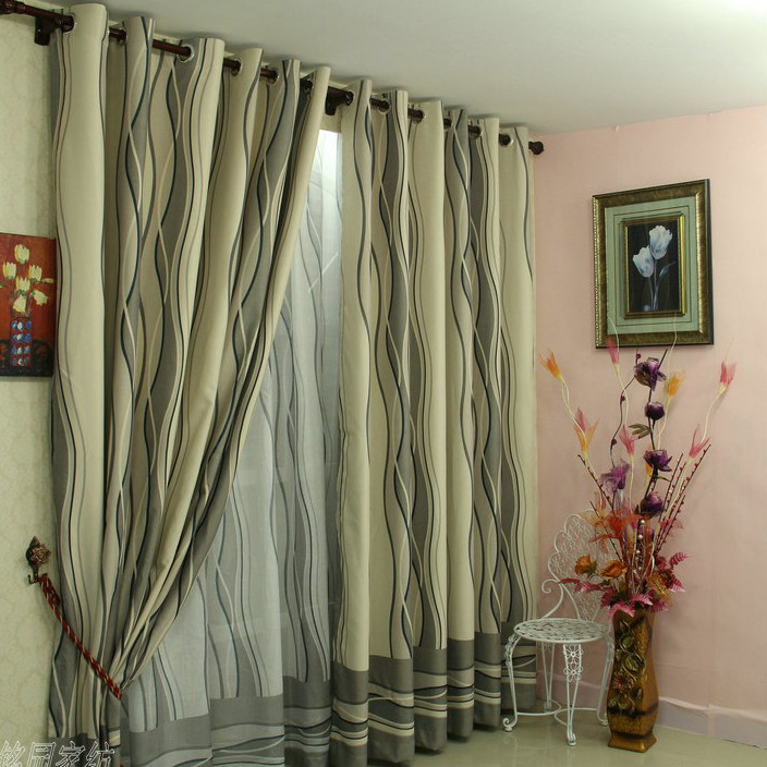Simple European Blackout Print Poly And Fiber Blend Striped Living Room Curtains
