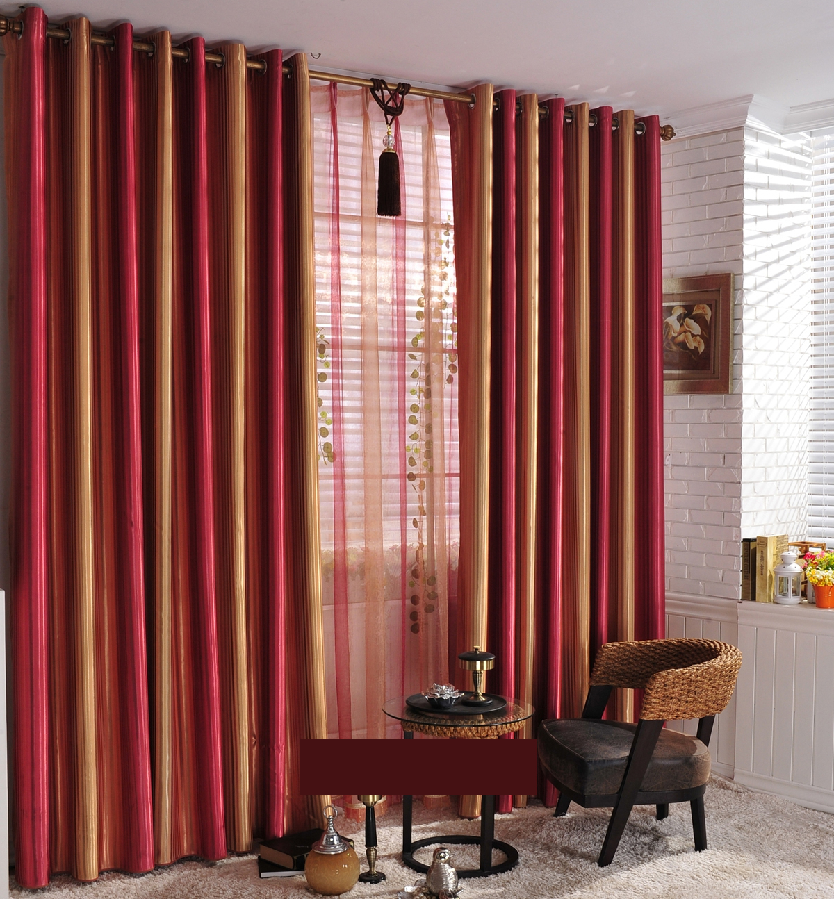 Striped Gold Comfortable Touching Energy Saving Curtains