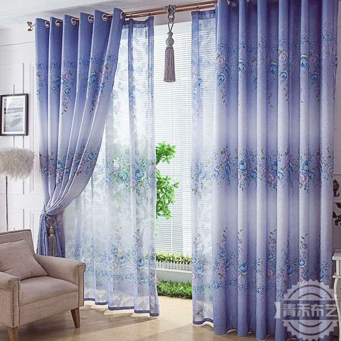 Elegant Country Style Print Flower Purple Living Room Curtain