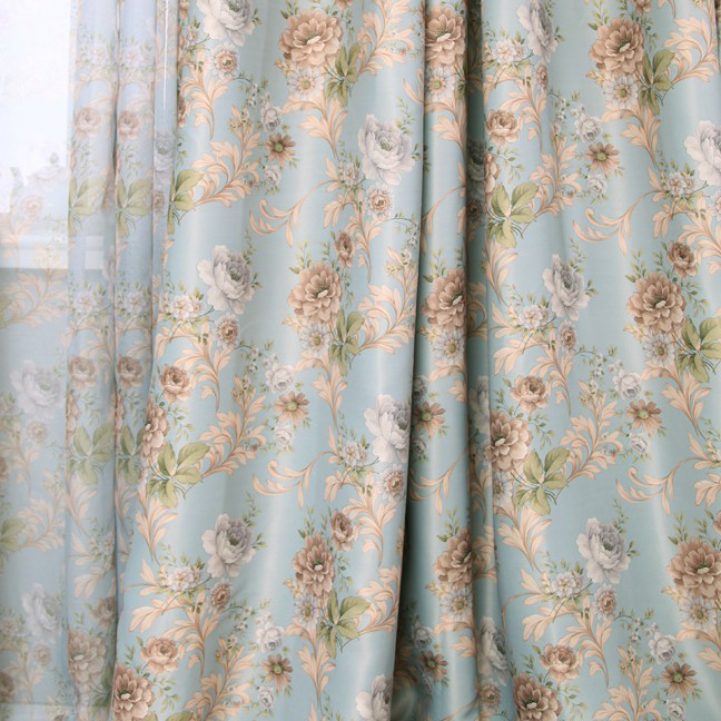 ... - Rod Pocket Curtains Drapes Floral Jacquard Lined Curtains Country
