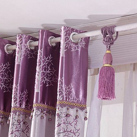 lilac tree patterns printing thermal and energy saving curtains, Bedroom decor