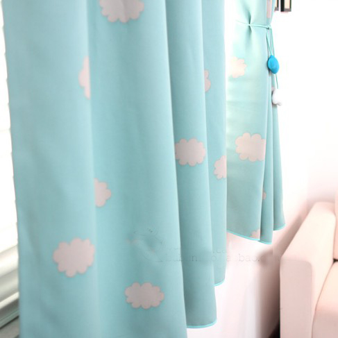 Korean Style Fresh Cloud Poly and Cotton Blend Curtain , Buy Blue ...