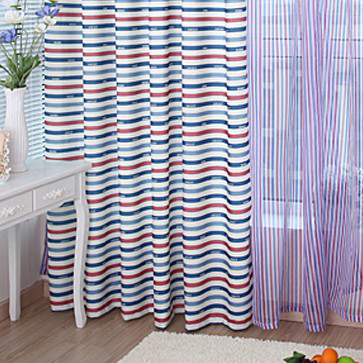 Nautical Striped Stars Poly and Cotton Blend Bedroom Curtain