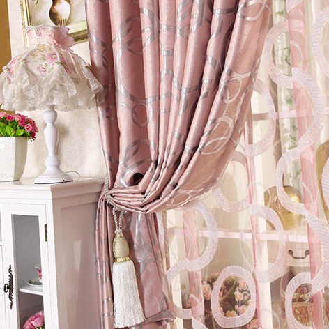 elegant blackout pink thicken jacquard bedroom curtain , buy pink, Bedroom decor