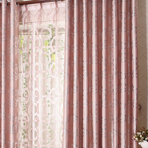 Elegant Blackout Pink Thicken Jacquard Bedroom Curtain