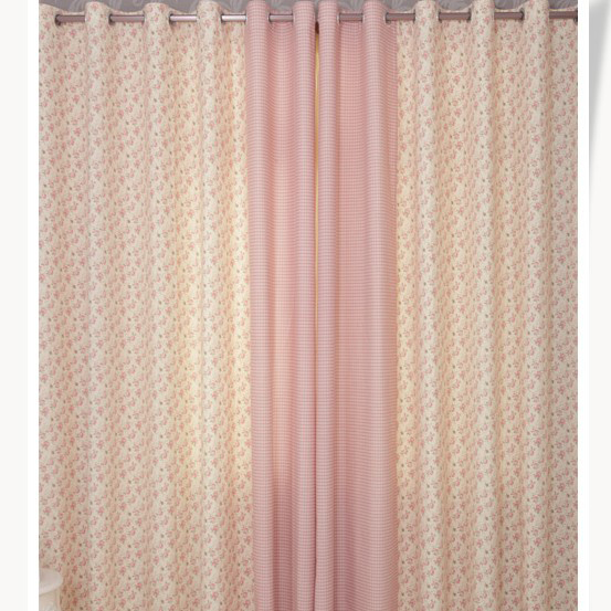 Sweet Pink Floral and Plaid Cotton Bedroom Curtains for Girls  Sweet Pink  Floral and Plaid. Pink Bedroom Curtains
