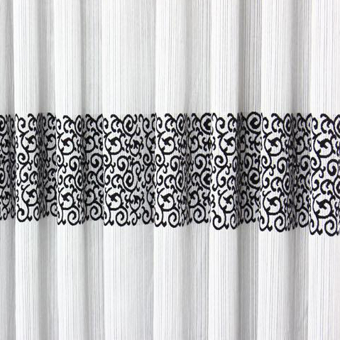 Elegant Grey Printed And Jacquard Curtain With Blend Materials