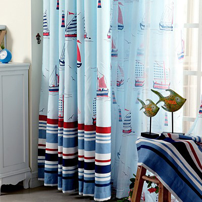 Sail Boat Jacquard Blue Boy Bedroom Curtains with Striped Patterns