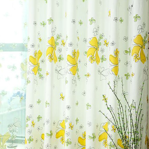 ... Stunning Floral Style White And Yellow Thermal Curtains ...