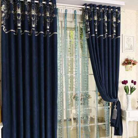 Royal Blue Chenille Blackout Living Room Curtains For Sale
