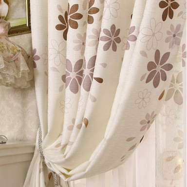 country style living room curtains.  Country Style Leaf Printed White Bedroom or Living Room Curtains