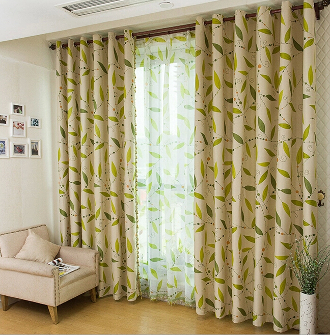 Sale Green Leaf White Living Room Curtains Loading zoom