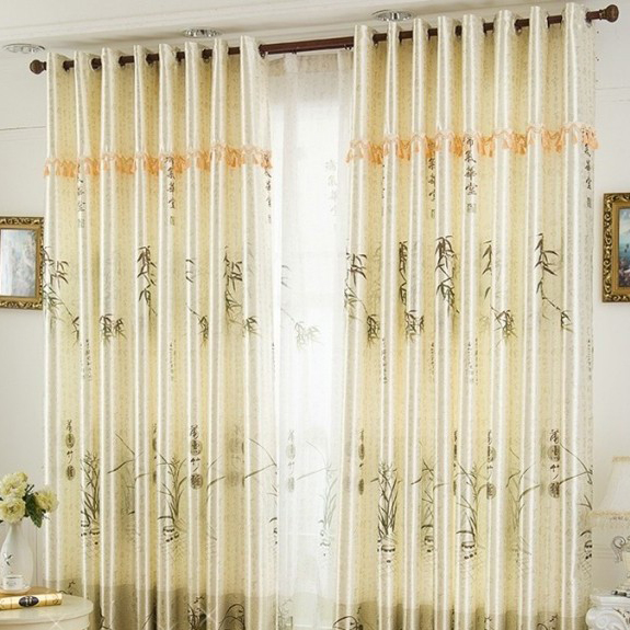 Sale Chinese Style Bamboo Jacquard Living Room Curtains Loading zoom