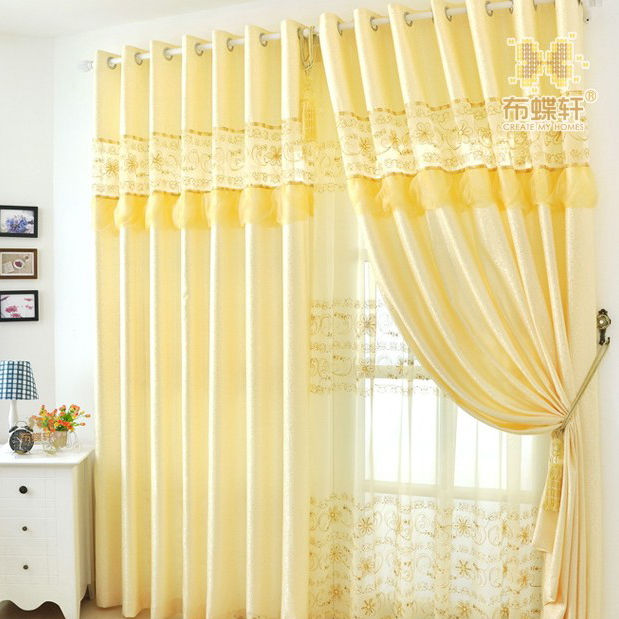... Light Yellow Embroidered Noble Living Room Curtains Part 54