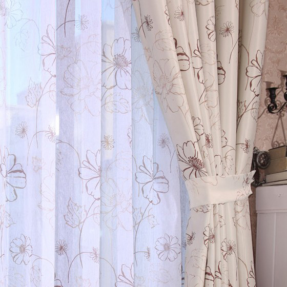 Modern Double Printed Flowers Living Room Curtains