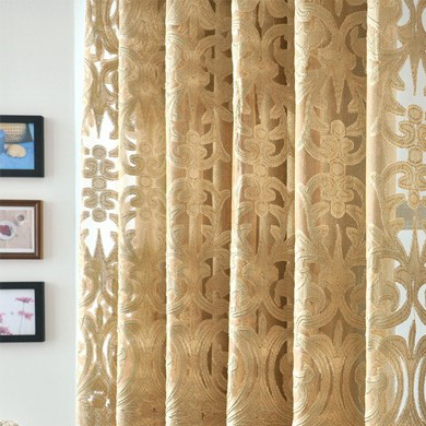... Luxurious And Excellent Flowers Pierced Gold Curtains ...