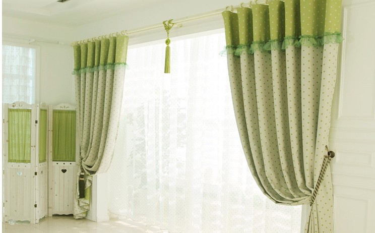 Green Elegant Colorful Dots Country Style Living-Room Curtains ...