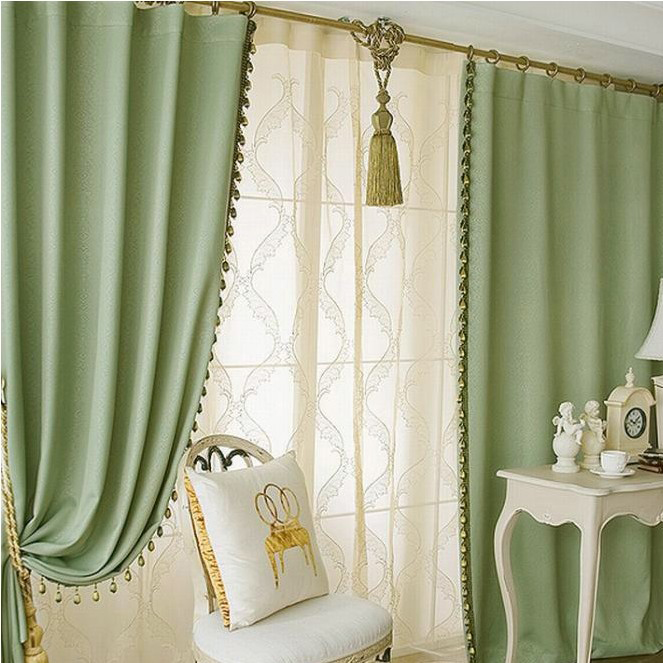 Solid Green Color Elegant Blackout Living Room Curtains