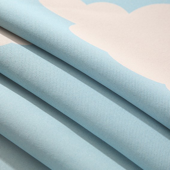 Blue Sky and White Clouds Printing Blue Curtains for Kids Bedroom