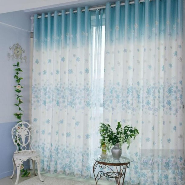 Flower White and Blue Energy Saving Curtains